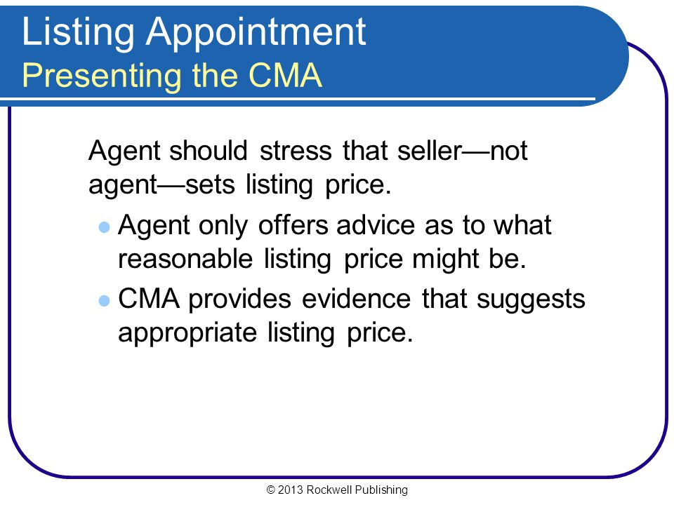 Listing Appointment Presenting the CMA