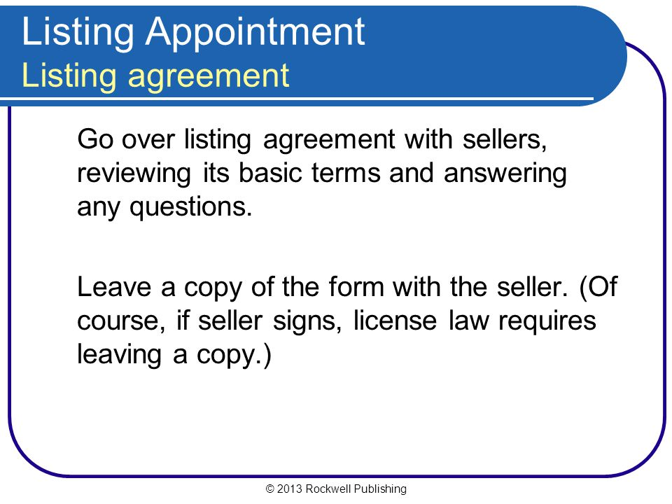 Listing Appointment Listing agreement