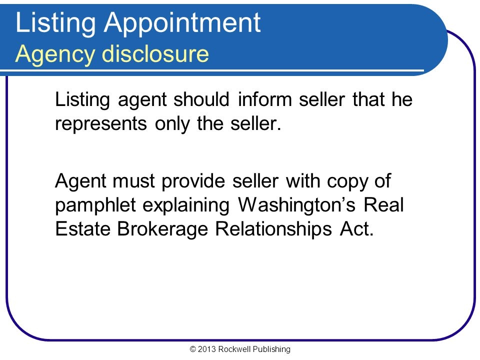 Listing Appointment Agency disclosure