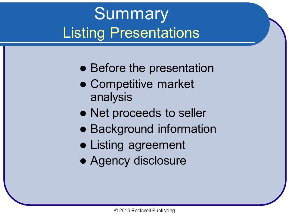 Summary Listing Presentations