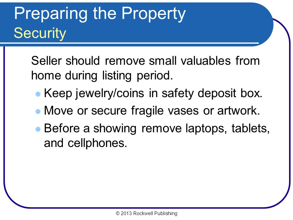 Preparing the Property Security
