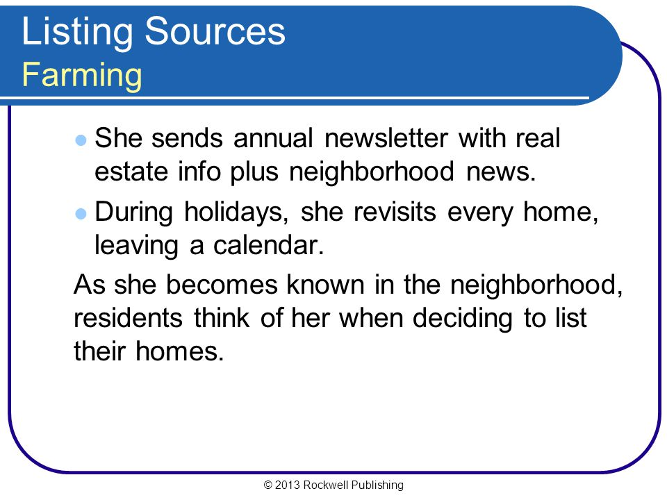 Listing Sources Farming