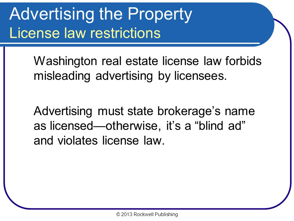 Advertising the Property License law restrictions