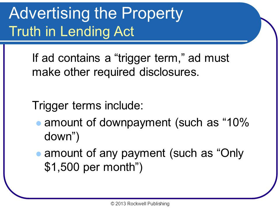 Advertising the Property Truth in Lending Act