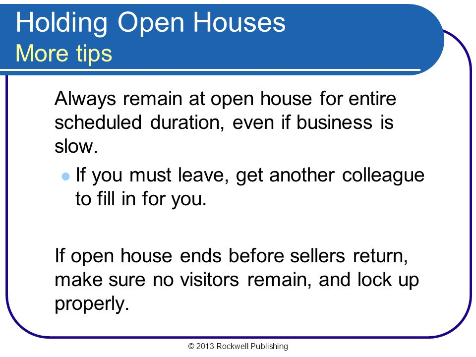 Holding Open Houses More tips