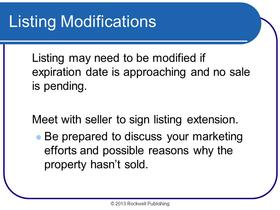 Listing Modifications