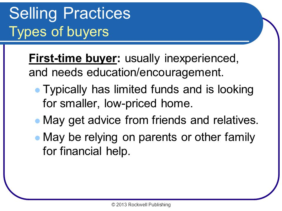 Selling Practices Types of buyers