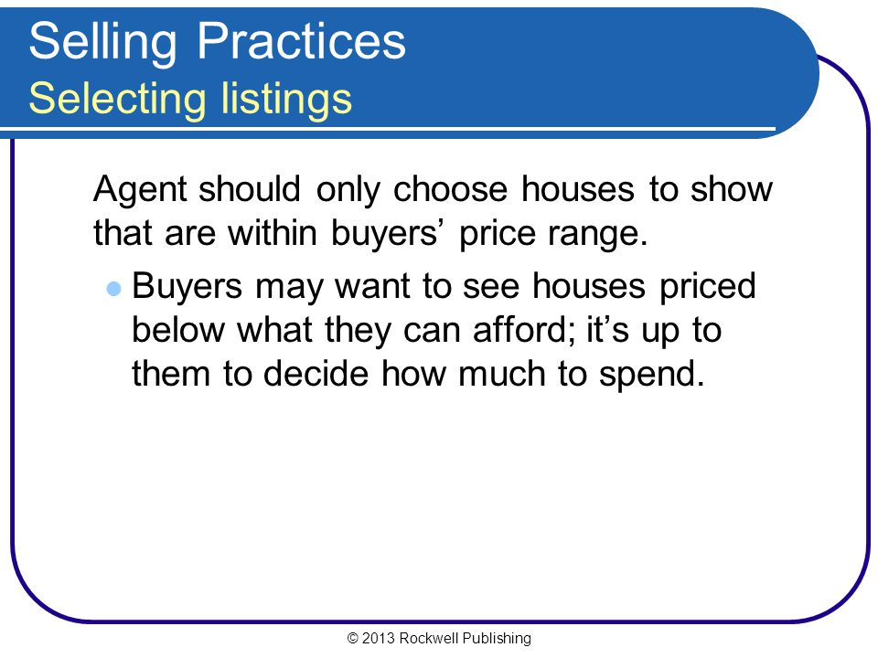 Selling Practices Selecting listings