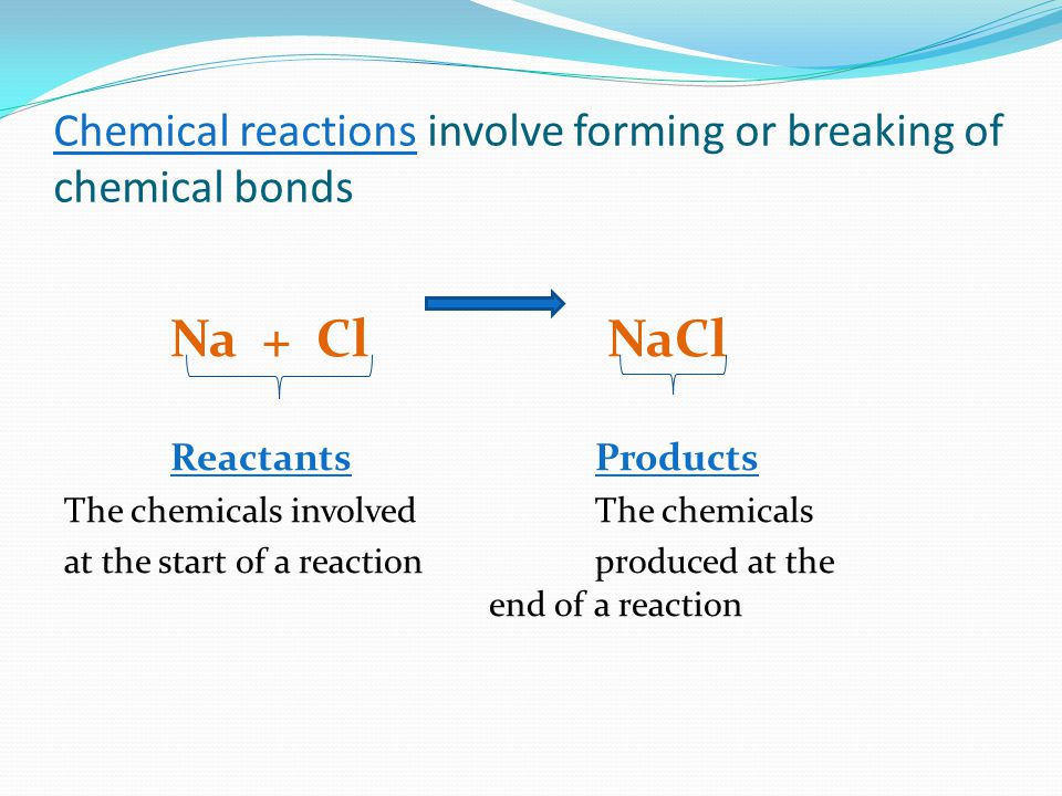 Chemical reactions involve forming or breaking of chemical bonds