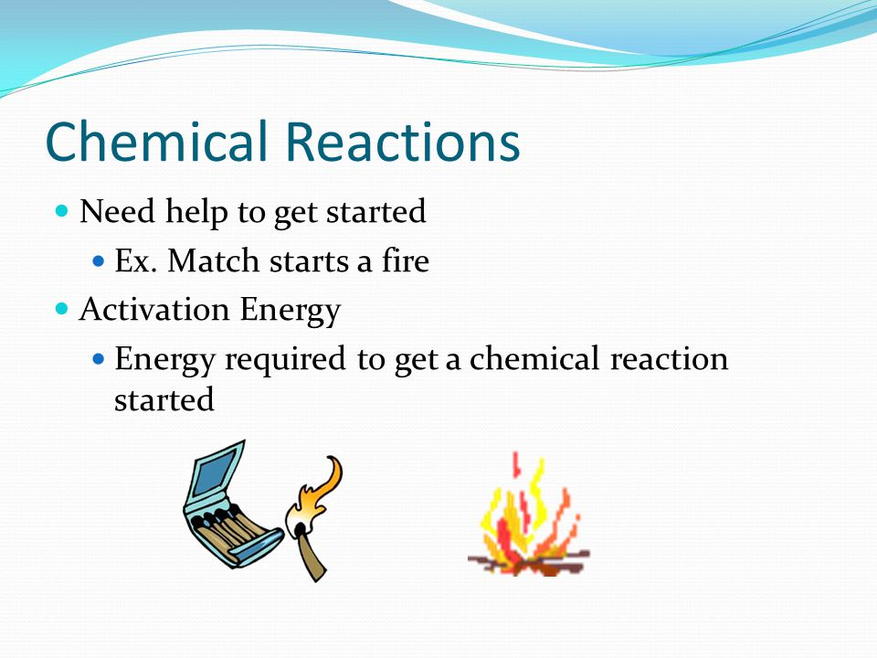 Chemical Reactions Need help to get started Ex. Match starts a fire