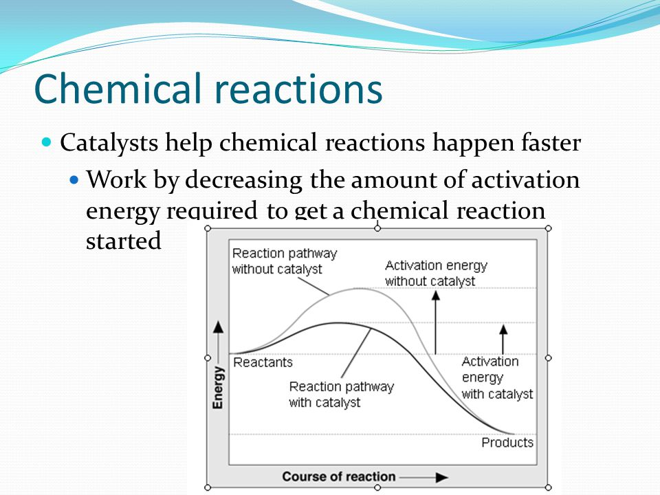 Chemical reactions Catalysts help chemical reactions happen faster