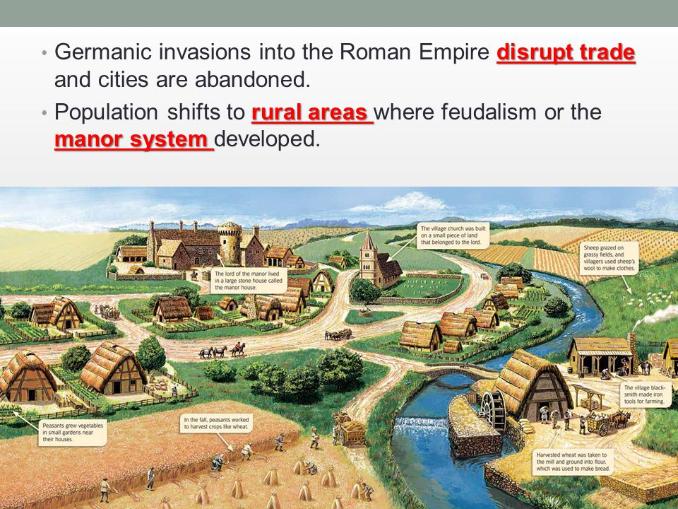 Germanic invasions into the Roman Empire disrupt trade and cities are abandoned.