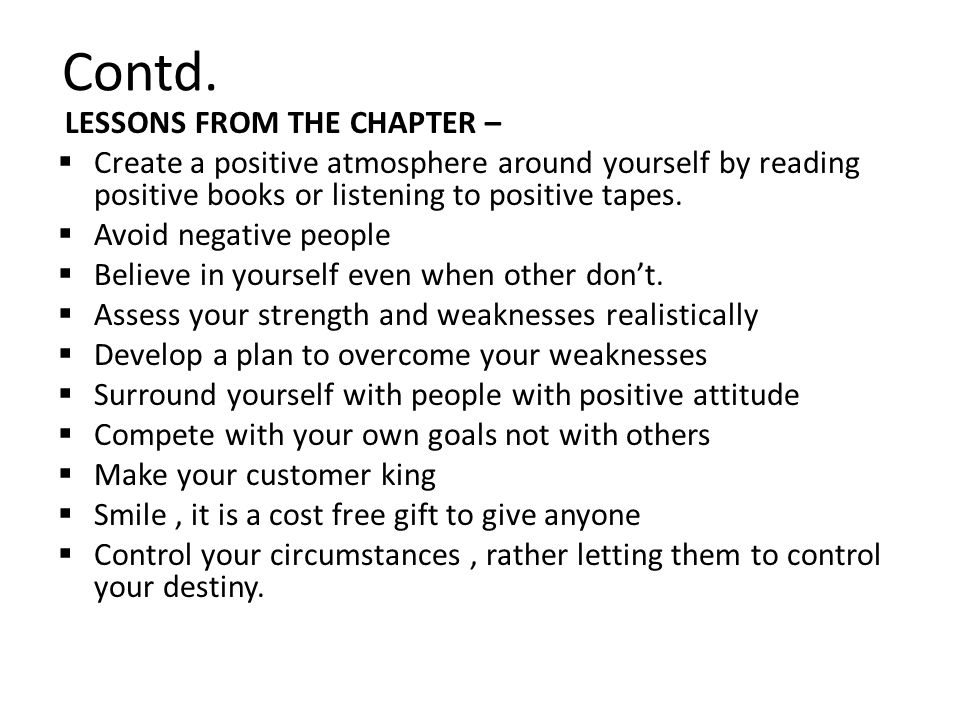 Contd. LESSONS FROM THE CHAPTER –