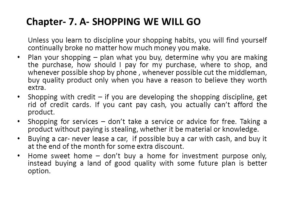 Chapter- 7. A- SHOPPING WE WILL GO