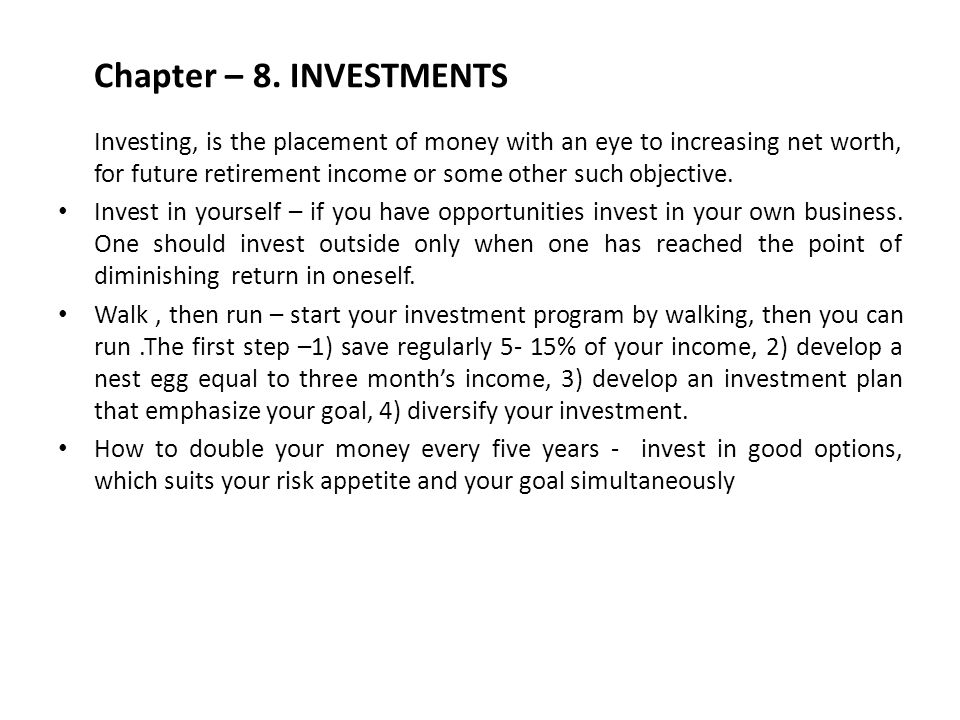 Chapter – 8. INVESTMENTS