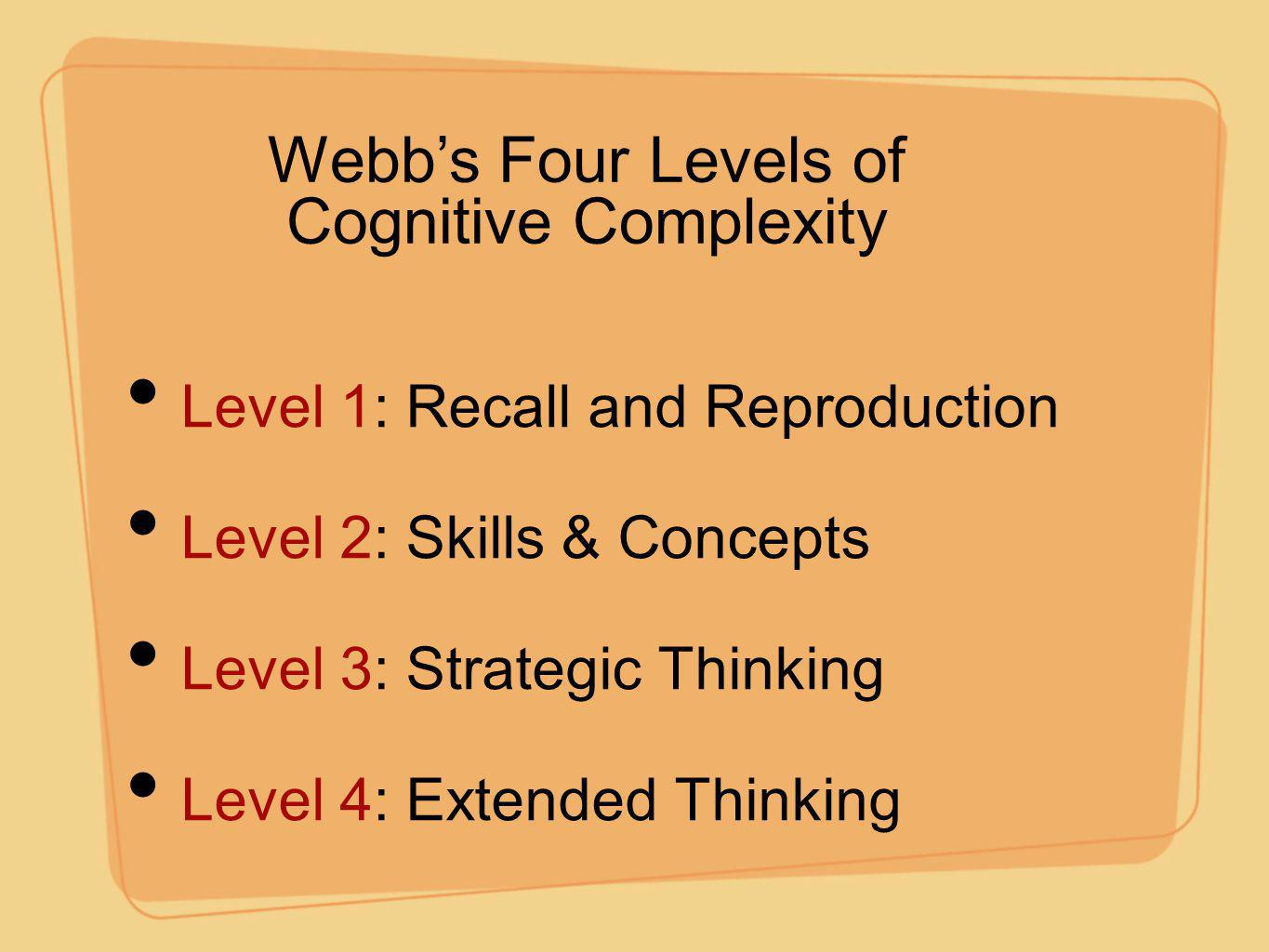 Webb's Four Levels of Cognitive Complexity