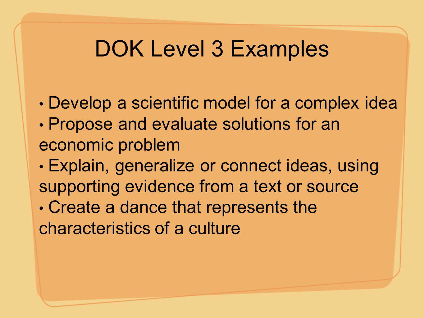 DOK Level 3 Examples Develop a scientific model for a complex idea
