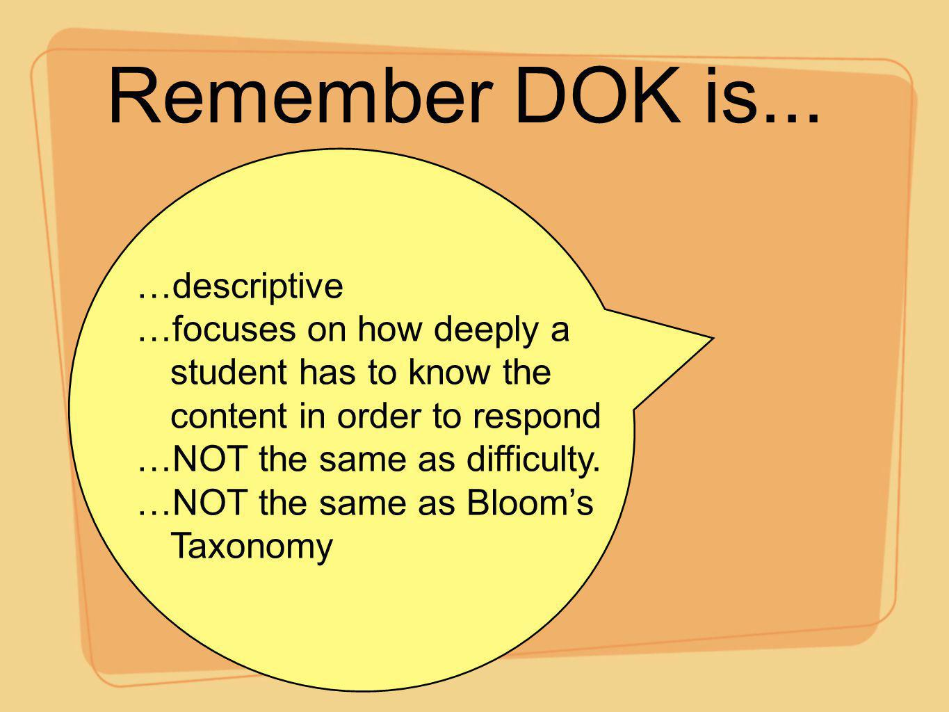 Remember DOK is... …descriptive