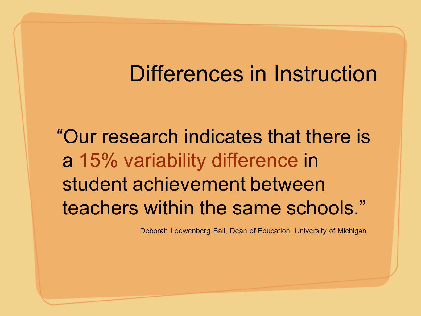 Differences in Instruction