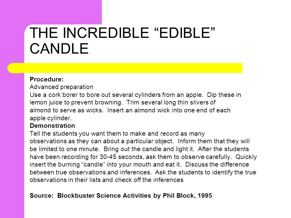 THE INCREDIBLE EDIBLE CANDLE