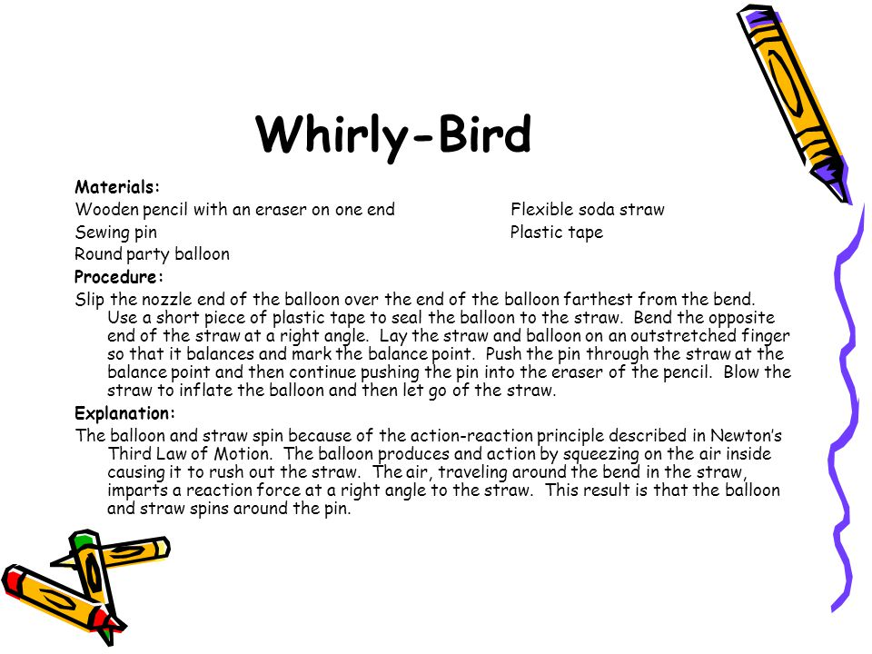 Whirly-Bird Materials: