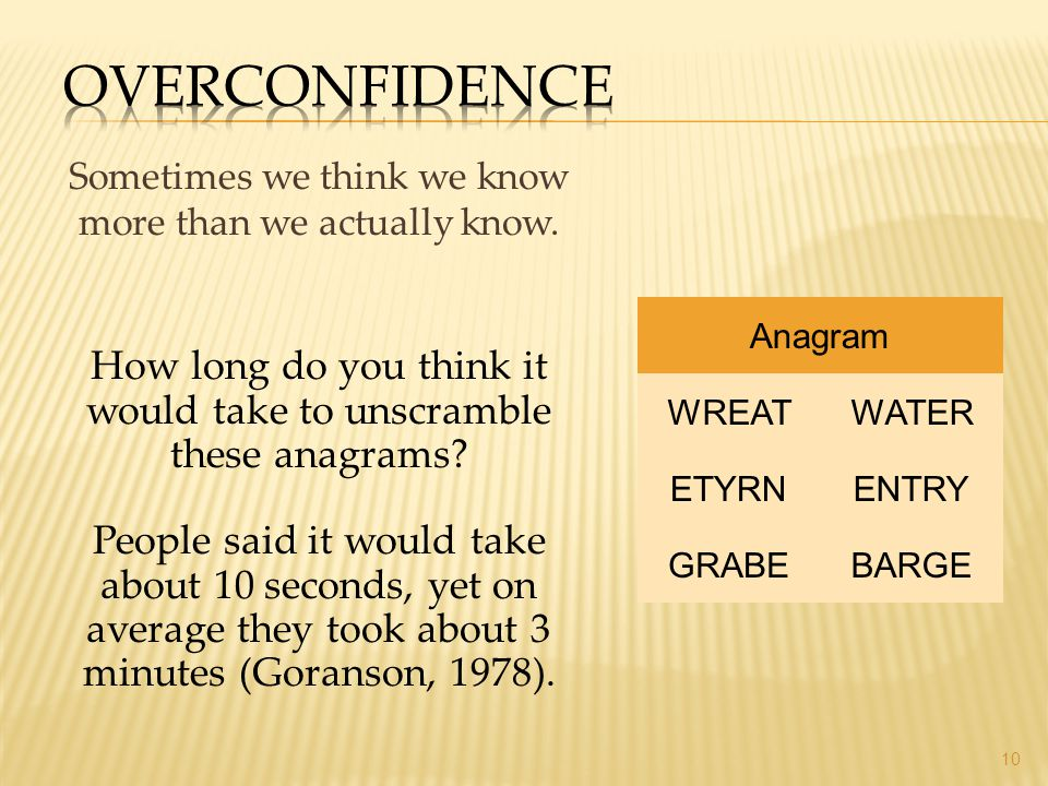 Overconfidence Sometimes we think we know more than we actually know. Anagram. How long do you think it would take to unscramble these anagrams
