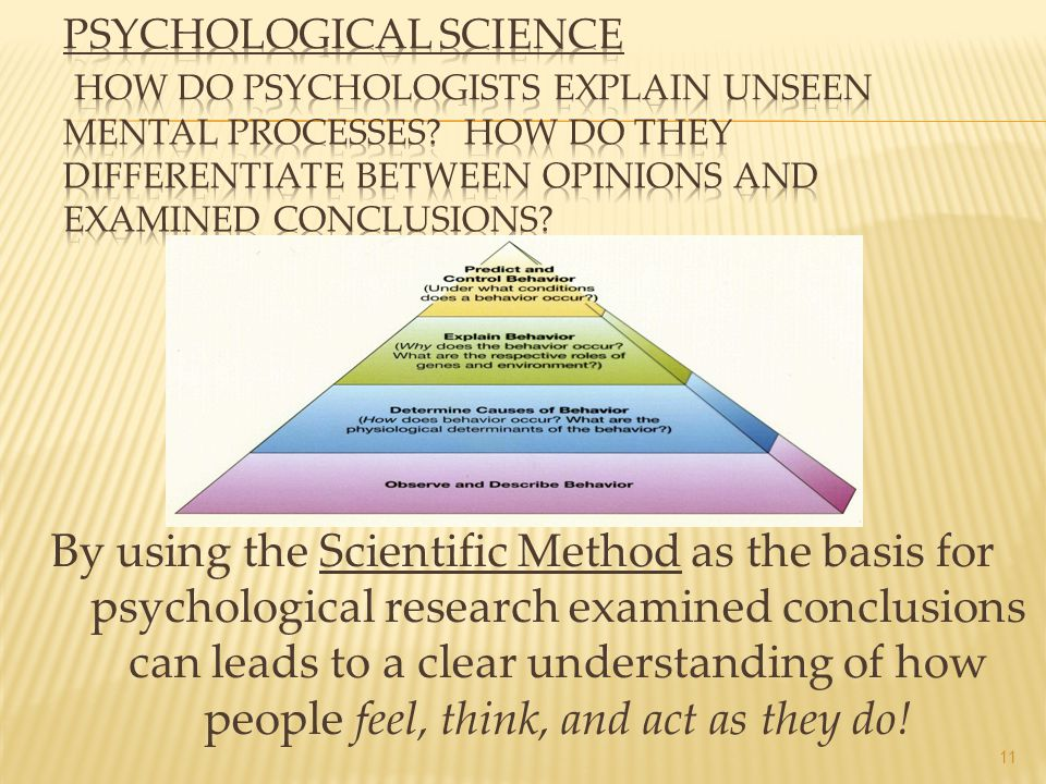 Psychological Science How do psychologists explain unseen mental processes How do they differentiate between opinions and examined conclusions