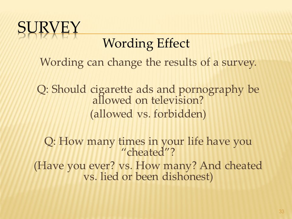 Survey Wording Effect Wording can change the results of a survey.