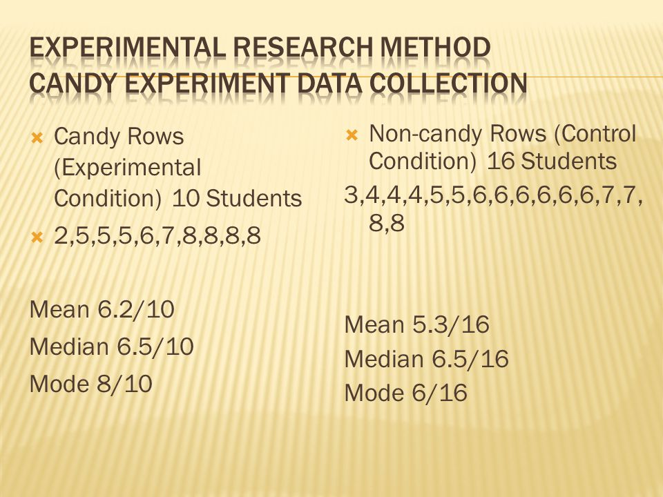 Experimental Research Method Candy Experiment Data Collection