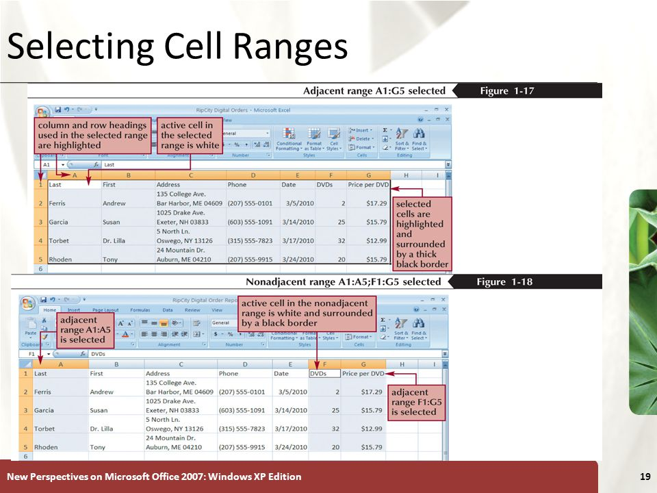 Selecting Cell Ranges New Perspectives on Microsoft Office 2007: Windows XP Edition