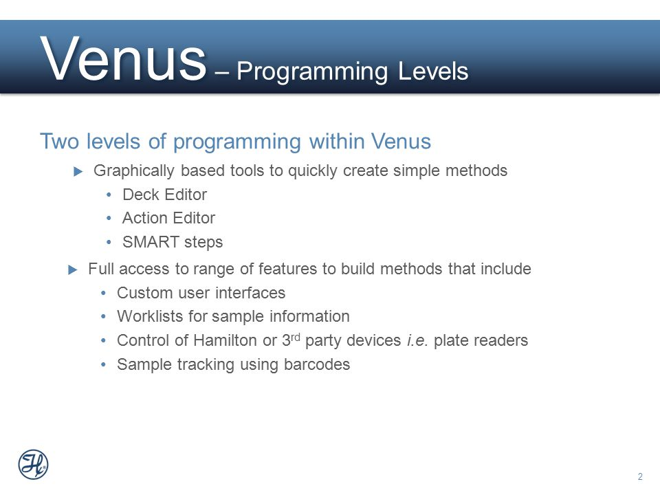 Venus – Programming Levels
