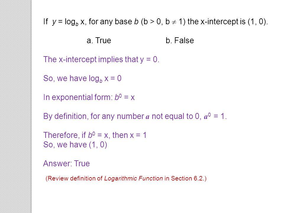 The x-intercept implies that y = 0. So, we have logb x = 0
