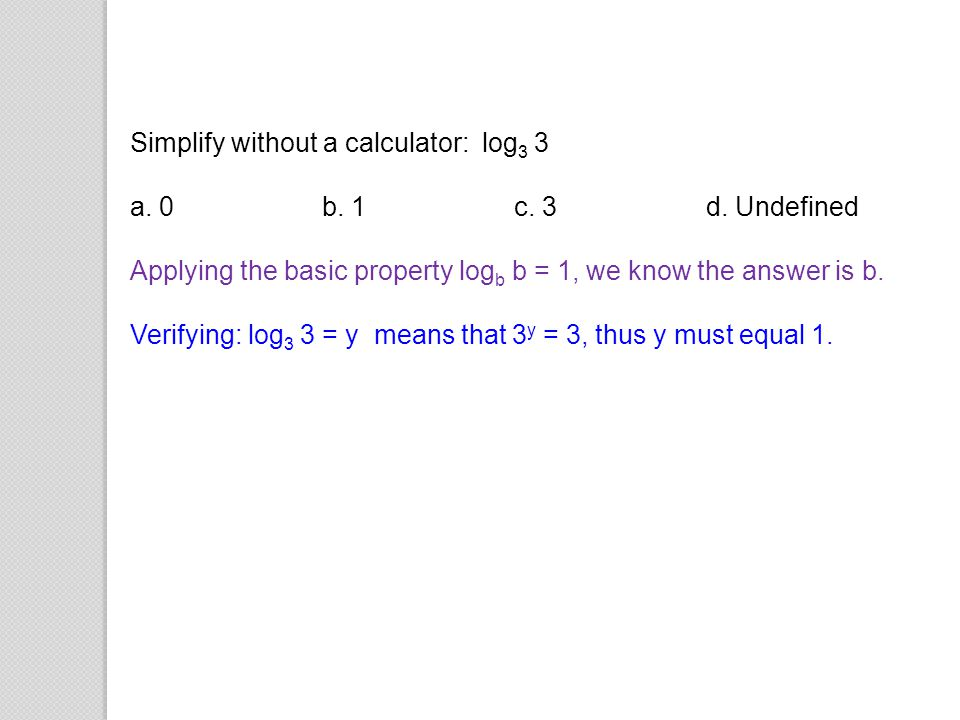Simplify without a calculator: log3 3