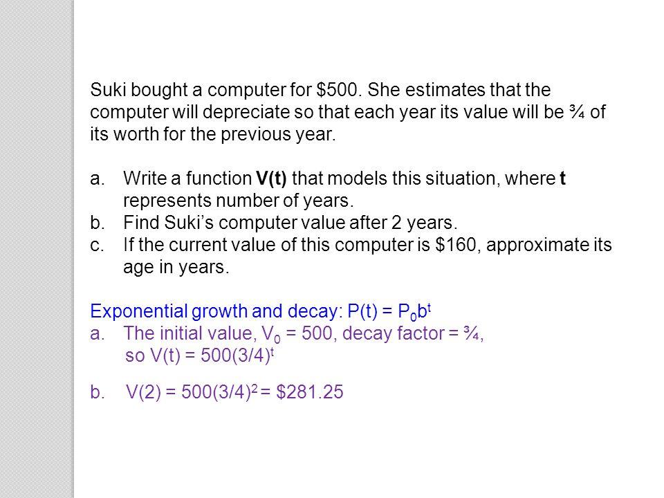 Suki bought a computer for $500
