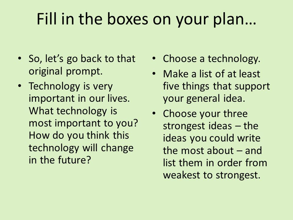 Fill in the boxes on your plan…