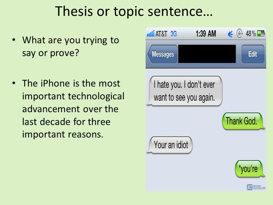 Thesis or topic sentence…