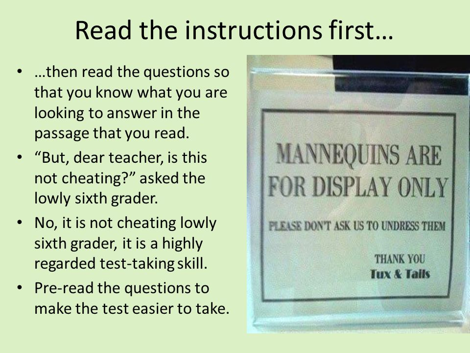 Read the instructions first…