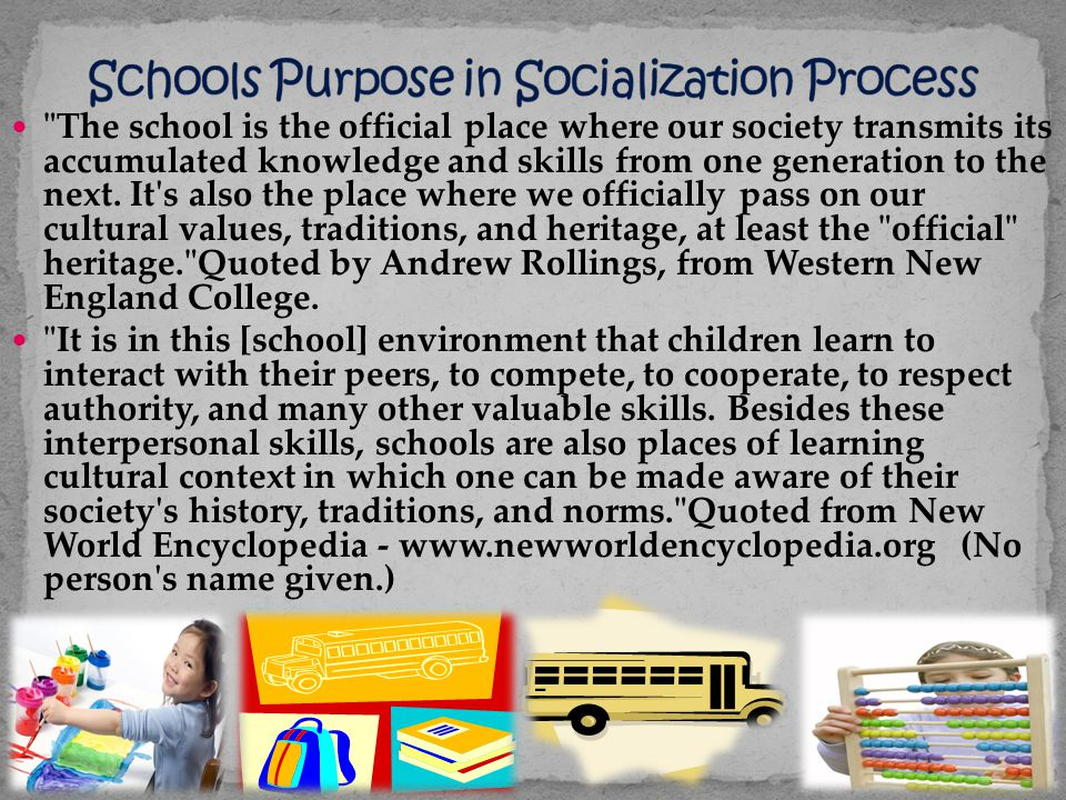 Schools Purpose in Socialization Process