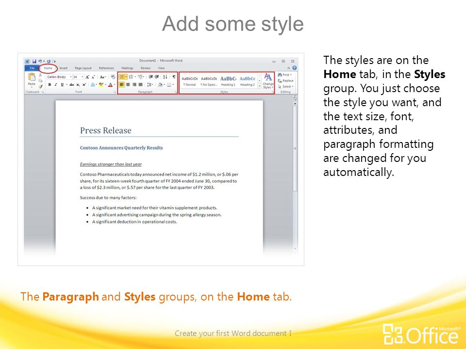 Create your first Word document I