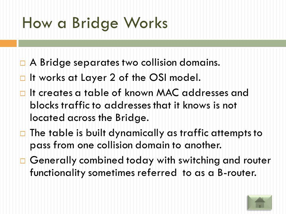 How a Bridge Works A Bridge separates two collision domains.