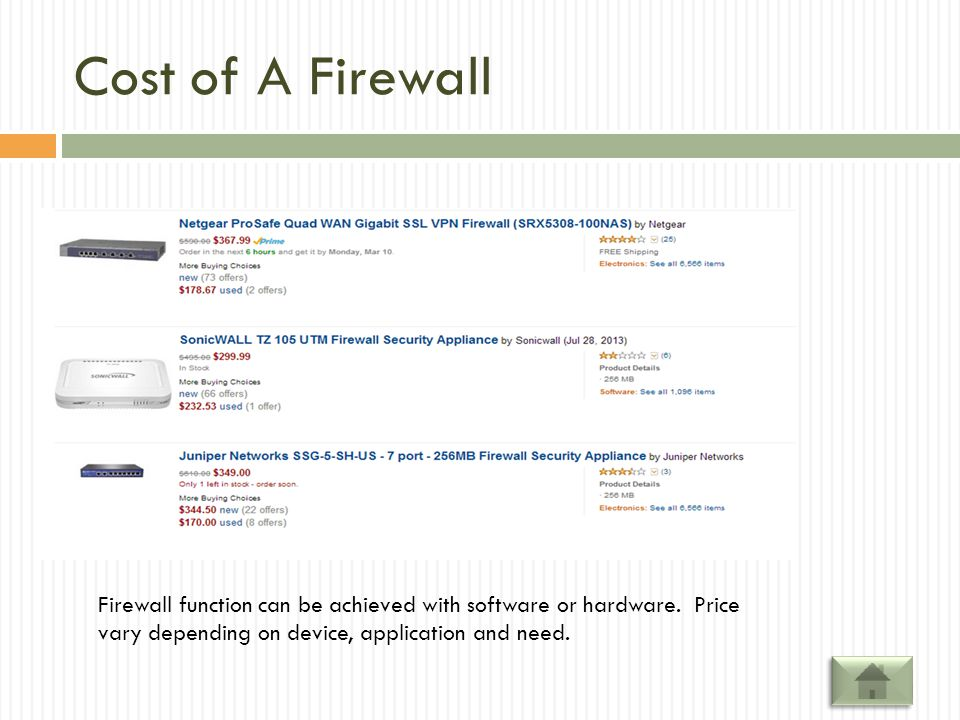 Cost of A Firewall Firewall function can be achieved with software or hardware.