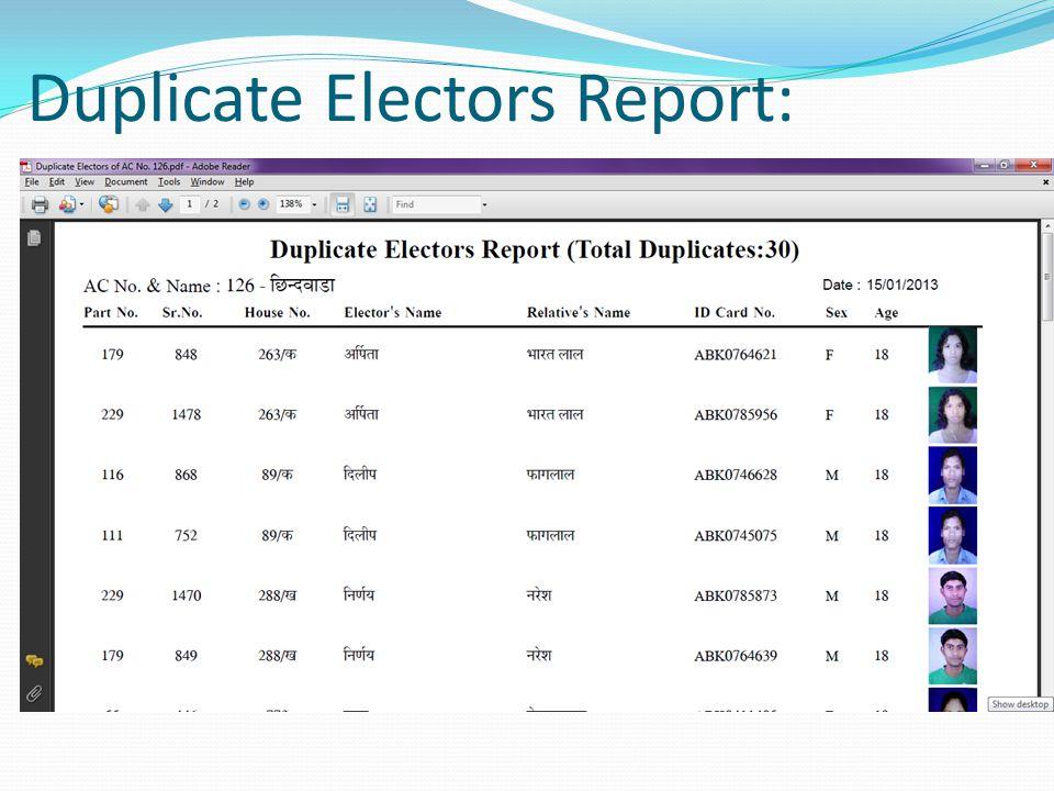 Duplicate Electors Report: