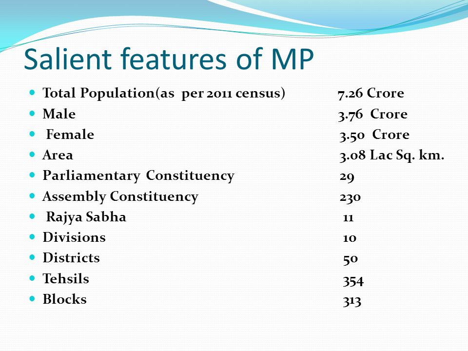 Salient features of MP Total Population(as per 2011 census) 7.26 Crore