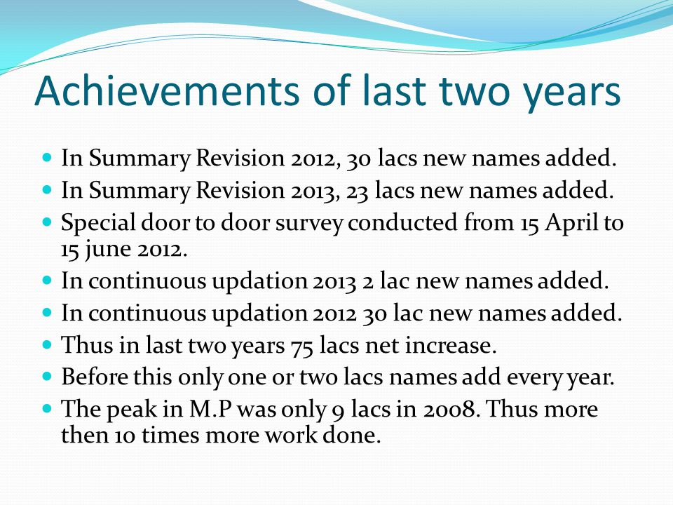 Achievements of last two years