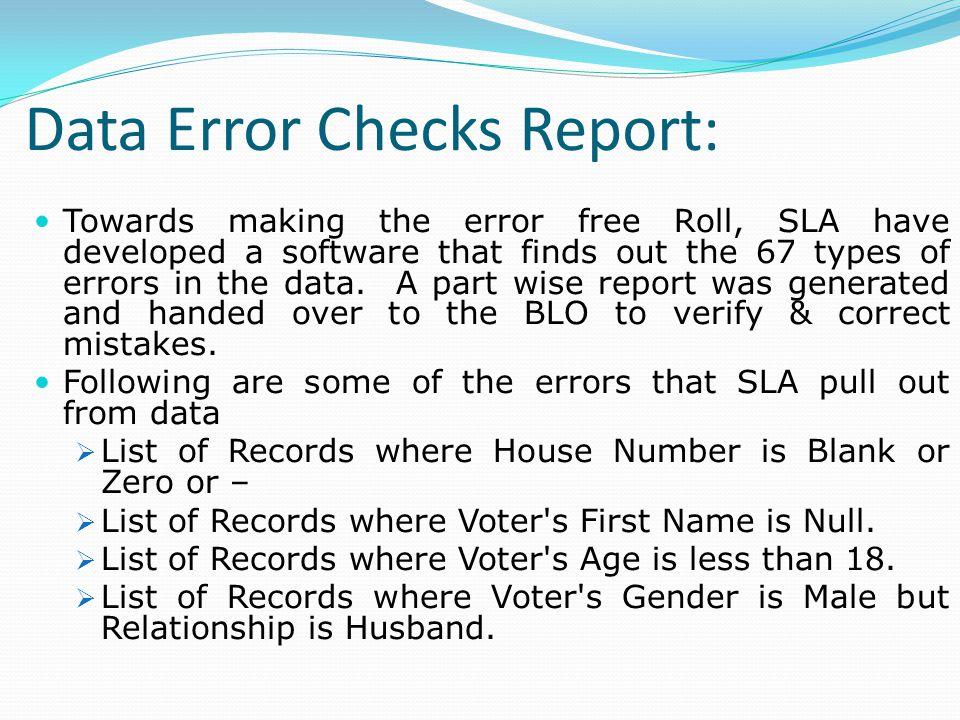 Data Error Checks Report: