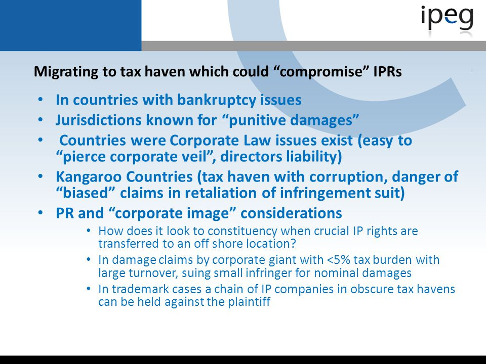 Migrating to tax haven which could compromise IPRs