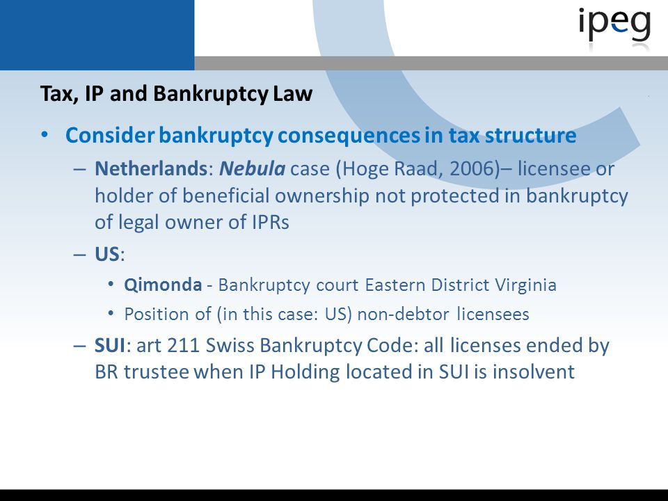 Tax, IP and Bankruptcy Law