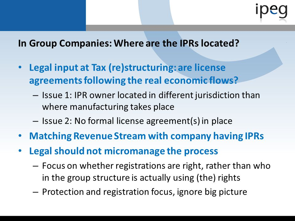 In Group Companies: Where are the IPRs located