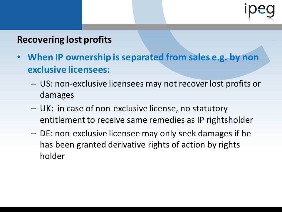 Recovering lost profits
