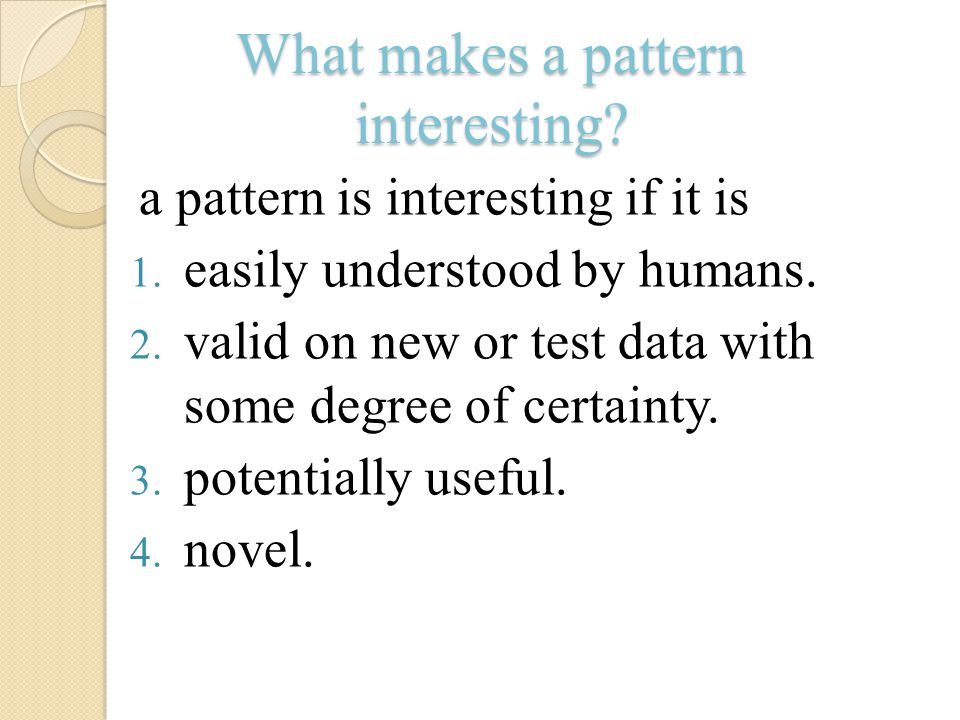 What makes a pattern interesting